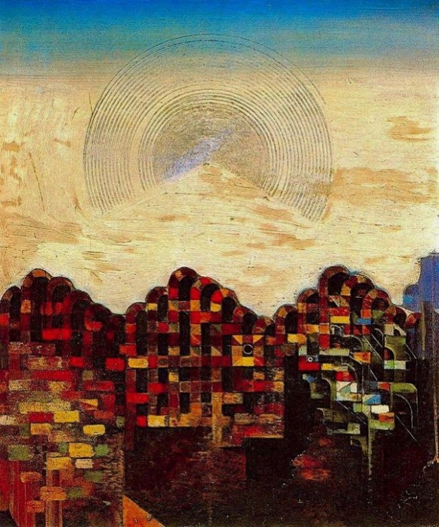 This is by Max Ernst. It evokes a horizon, and thus it works for this post. OK?